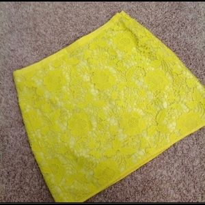 Madewell Yellow Cotton Lace Texture Mini Skirt 2